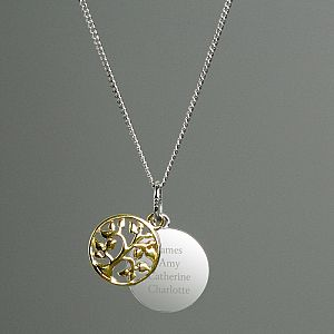 f6cbe0c88 Personalised Sterling Silver & 9ct Gold Family Tree Necklace