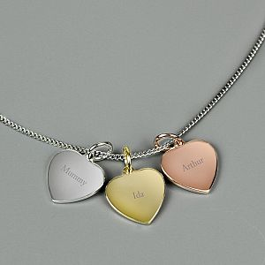 e87f32d13 Personalised Silver, Gold, and Rose Gold Hearts Necklace